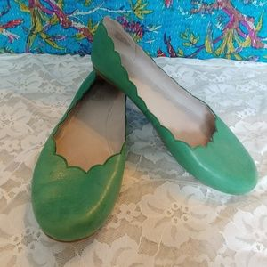 Miz Mooz Mint Green Scalloped Leather Peachy Flats